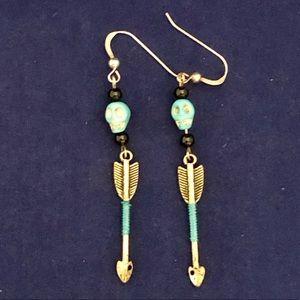 Turquoise Blue Skull Beads & Arrow Earrings